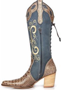 Bota Texana Couro Country Capelli Boots Jacaré Azul