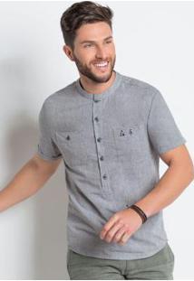 Camisa Cinza Actual Com Bolsos E Mangas Dobradas