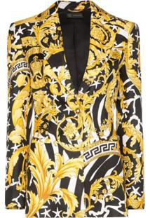 Versace Blazer Com Estampa Barroca - Preto