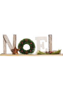 Enfeite Natal Para Mesa Noel Em Madeira Branco E Verde 50Cm
