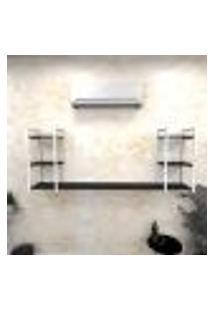 Estante Industrial Escritório Aço Cor Branco 180X30X68Cm (C)X(L)X(A) Cor Mdf Preto Modelo Ind30Pes