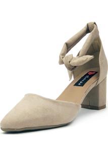 Scarpin Aberto Love Shoes Bico Fino Amarração Areia