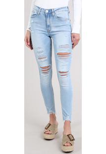 Calça Jeans Feminina Skinny Destroyed Com Bolsos Azul Claro