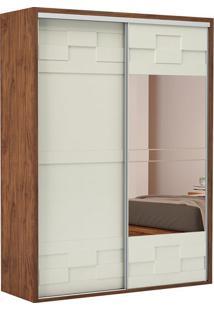 Guarda Roupa Tw301E 2 Portas Com Espelho Nobre Fosco/Off White