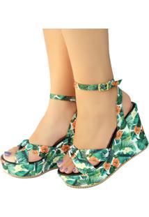 Sandália Plataforma Bellatotti Tropicana Verde