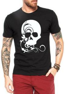 Camiseta Criativa Urbana Caveira Decorada - Masculino