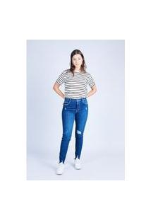 Calça Jeans Cigarrete Azul Escuro Gang Feminina