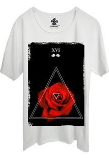 Camiseta Estampada Corvuz Red Rose Branca