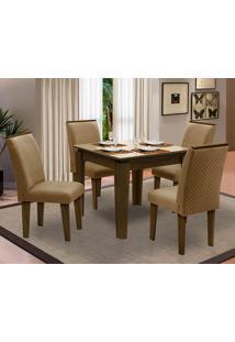 Sala De Jantar Saint Michel Com 4 Cadeiras – Dobuê Movelaria - Castanho / Bege / Kaki