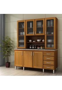 Cristaleira 7 Portas E 4 Gavetas Com Vidro Premium Cerejeira/Desenho Granito Alicante - Urbe Móveis