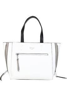 Bolsa Santa Lolla Shopper Mestiço Feminina - Feminino-Branco+Cinza