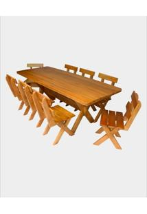 Mesa Rústica Com 08 Cadeiras Madeira Maciça Eucalipto 2,00M Mesa Para Churrasco E Churrasqueira