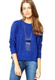 Suéter Mng Barcelona Pulôver Apple Azul