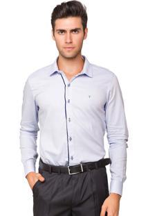 Camisa Social Tony Menswear Slim Fit Lisa Azul Claro