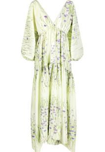 Bernadette Vestido Longo Com Estampa Floral - Verde