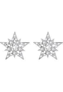 Brinco Estrela Ouro Branco E Diamantes