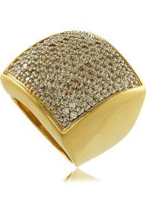 Anel Quadrado Com Mini Zircônias Cravejadas 3Rs Semijoias Dourado