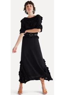 Vestido Babados Tricot Eva - Feminino