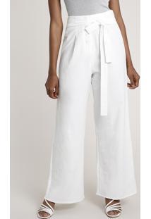 Calça Feminina Pantalona Com Botões E Faixa Para Amarrar Off White