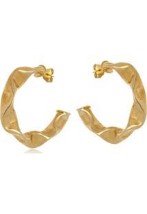 Argola Le Diamond Amassada Dourada - Kanui