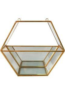 Vaso Decorativo De Vidro E Metal 19,5 Cm