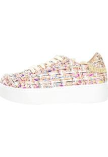 Tênis Week Shoes Colorido Tecido Desfiado Com Cadarço