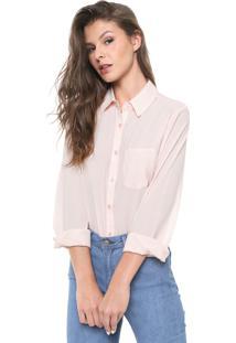 Camisa Facinelli By Mooncity Listrada Rosa/Branca