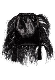 Attico Bolsa Clutch Com Plumas - Preto