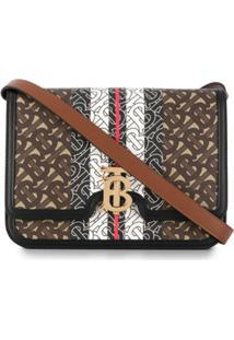 Burberry Monogram Stripe Shoulder Bag - Marrom