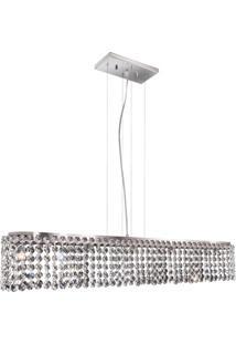 Pendente Retangular Para 6 Lâmpadas Milano 12X80Cm Espelhado