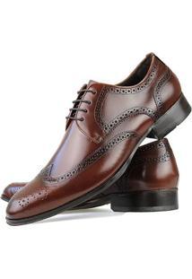 Sapato Social Florense Oxford Classico Couro Masculino - Masculino-Caramelo