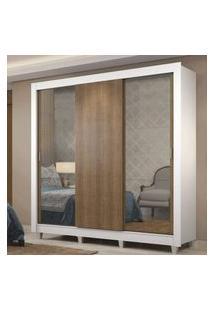 Guarda-Roupa Casal Madesa Lyon Plus 3 Portas De Correr Com Espelhos 4 Gavetas Com Pés Branco