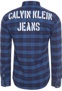 Camisa Masculina Xadrez Calvin Bold - Azul