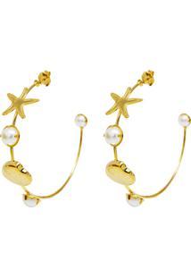 Brinco Argola Conchas E Estrelas Do Mar Banhado A Ouro 18K - Dourado - Feminino - Dafiti