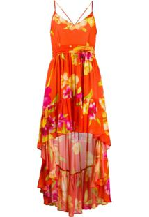 Twin-Set Vestido Com Estampa Floral - Laranja