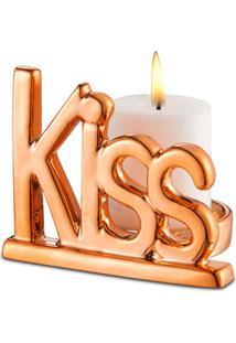 Porta Vela Bencafil Kiss 8,7X7,2X7 Cm Dourado