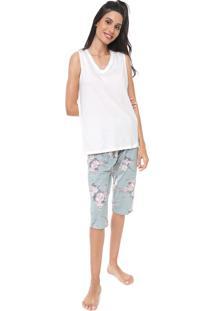 Pijama Pzama Floral Off-White/Verde