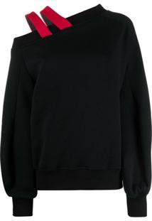 Atu Body Couture Suéter Com Ombro Assimétrico E Detalhe De Alça - Preto