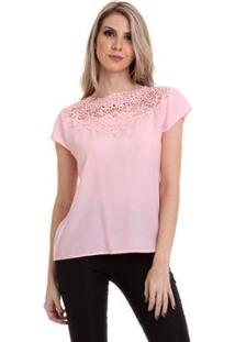 Blusa Crepe Com Renda Feminina - Feminino-Rosa