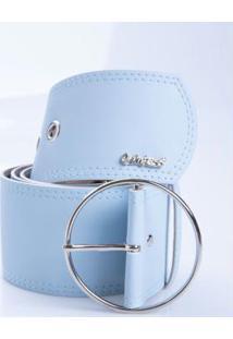 Cinto Azul Largo Com Fivela Circular