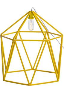 Luminaria Pendente Cenic Estrutura Quadrada De Ferro Cor Amarela 45Cm (Larg) - 54073 - Sun House