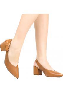 Sapato Scarpin Zariff Salto Grosso Marrom