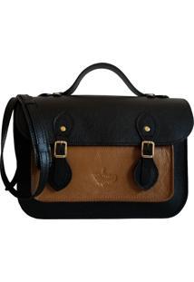 Bolsa Line Store Leather Satchel Pequena Couro Bicolor Preto X Caramelo