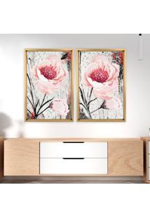 Quadro Com Moldura Chanfrada Floral Rosa Madeira Clara - Mã©Dio - Multicolorido - Dafiti