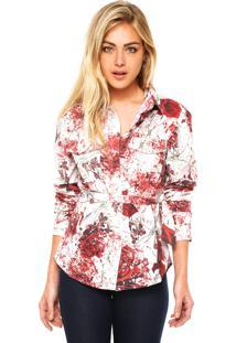 Camisa Manga Longa Carmim Floral Off-White/Vermelha