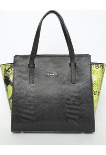 Bolsa Em Couro Texturizado Com Tag- Preta & Verde Limã£O