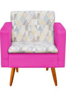Poltrona Decorativa EmãLia Linho A17 Com Suede Pink - D'Rossi - Rosa - Dafiti