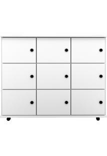 Nicho Multiuso Organizador Com RodãZios Am㣠9 Portas Branco - Mpozenato - Branco - Dafiti