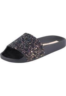 Slide Com Glitter - Moleca - Feminino-Preto