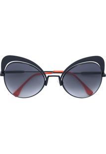 Fendi Eyewear Óculos De Sol Gatinho - Preto